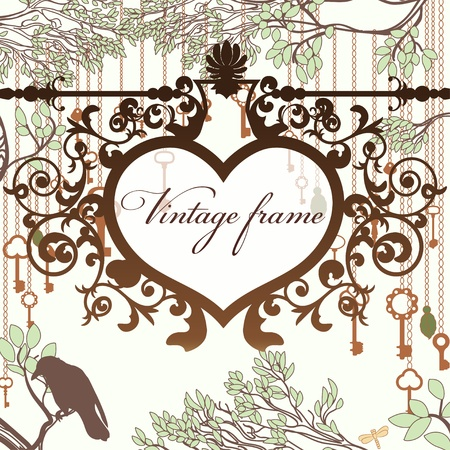 Vintage background with wrought heart frame and antique keys Vector