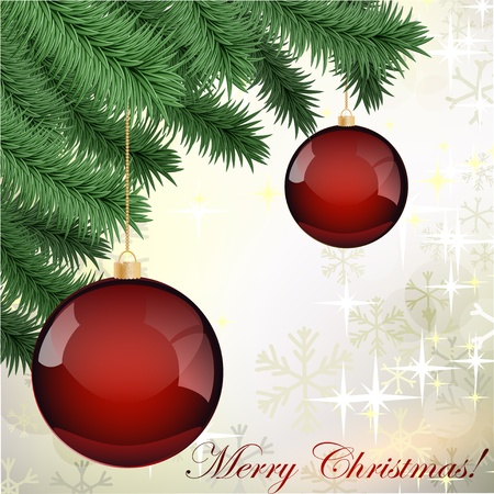 furtree: Vector grungy background with Christmas ball hanging on fur-tree branch Illustration