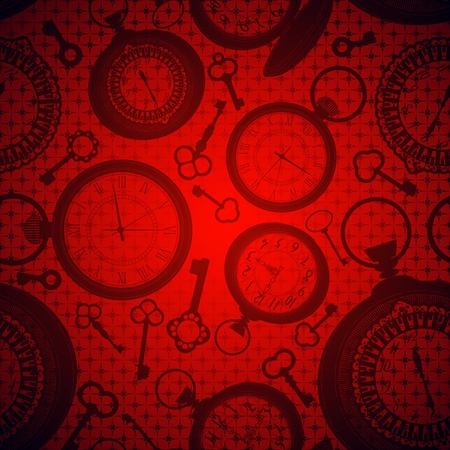 cover background time: Deep red background with clocks and keys silhouettes Illustration
