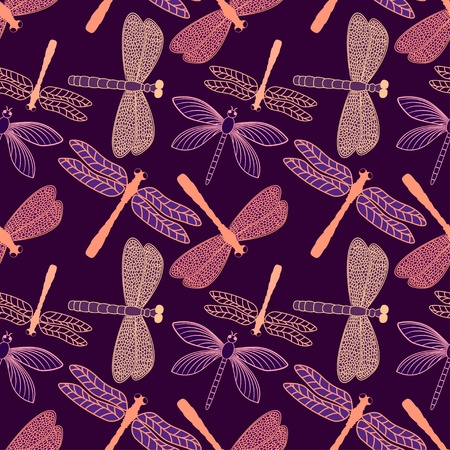 dragonfly wing: Vector seamless pattern with stylized dragonflies