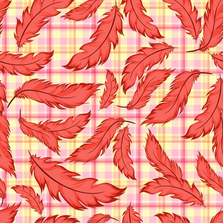 Seamless pattern with feathers on plaid Stock Vector - 12119918