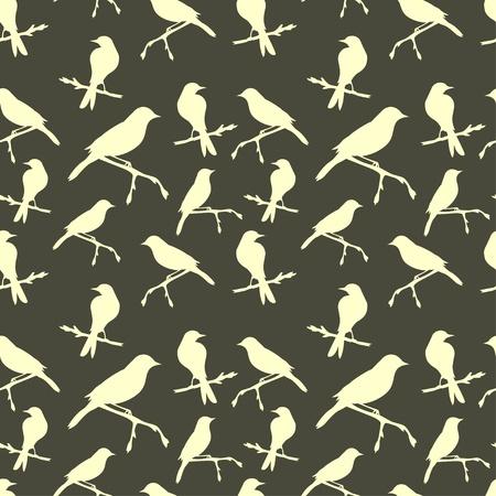 birds silhouette: Seamless pattern with birds