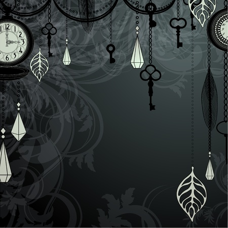 antique key: Vintage dark background with antique clocks and keys
