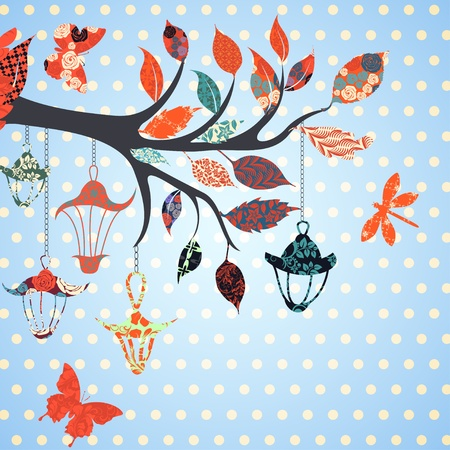 sky lantern: Background of tree branch with leaves and bird of patches