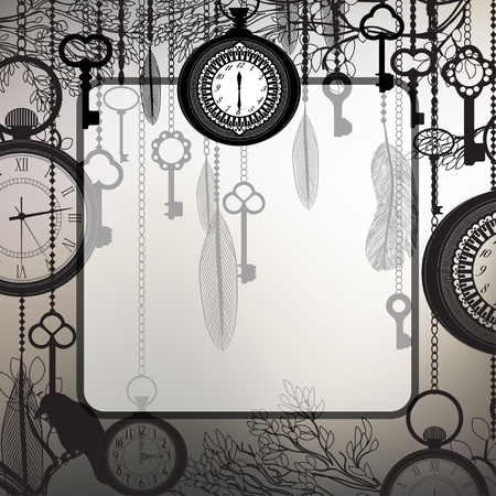 antique key: Retro background with tree branches and antique clocks and keys