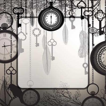orologi antichi: Sfondo retr� con rami d'albero e orologi antichi e le chiavi Archivio Fotografico