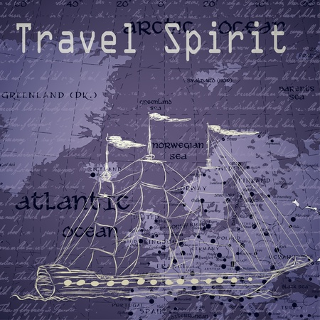 Travel background with vintage map and handwritten ship ship photo