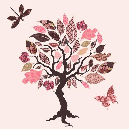 arbol raices: árbol con hojas de parches Foto de archivo