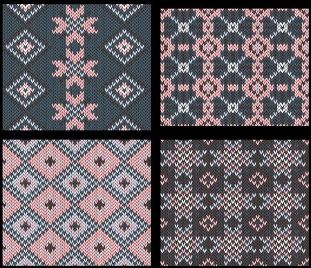 christmas plaid: Four seamless knitted swatches with folk ornament