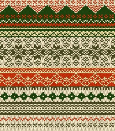 fair isle: Paese fondo maglia con fiocchi di neve