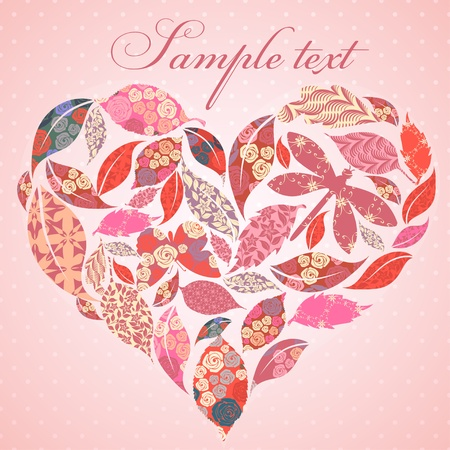 scrap booking: Valentine heart of patch leaves Illustration
