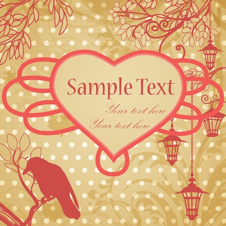 retro background with lanterns and heart frame Vector
