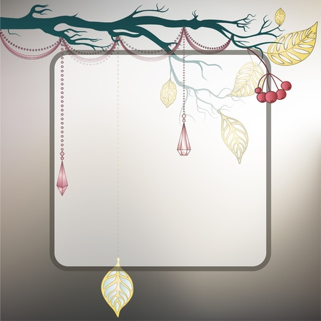 Steel gray background with tree branch and last leaves Stock Vector - 12119978
