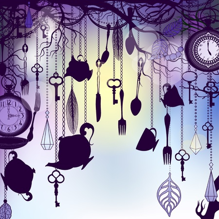 Vintage background with tea cups and clocks in dusk Stock Vector - 12119992