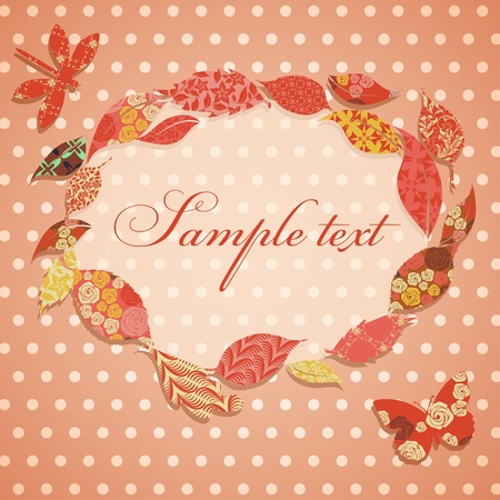Vintage background with frame of patch leaves Vector