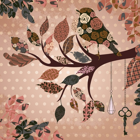 Retro background with leaves and bird of patches Vector