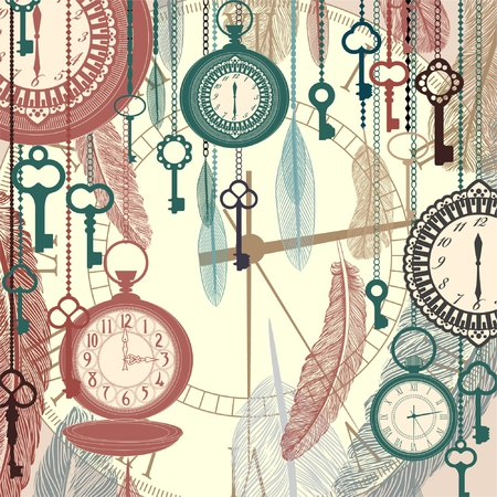 antique keys: Vintage vector background with pocket watches and feathers
