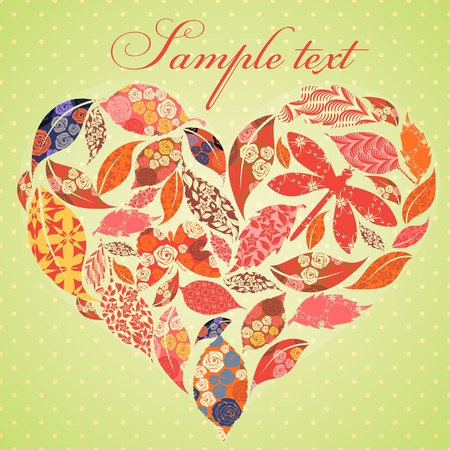 Valentine card with patch leaves Vector