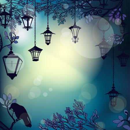 old moon: Mystic night background with tree branches and lanterns