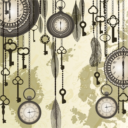 antique keys: Antique background with grungy map and clocks Illustration