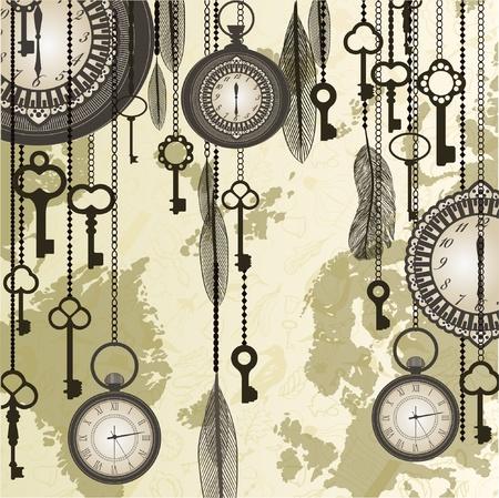 reloj antiguo: De fondo antiguo con grungy mapa y relojes
