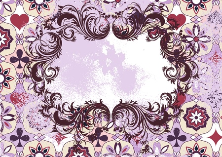 Vintage grunge background with ornament and frame Stock Vector - 12389450