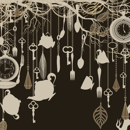 Antique background with tea party theme Stock Vector - 12389412