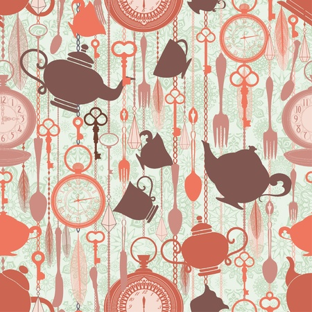 Vintage naadloze patroon met thee thema