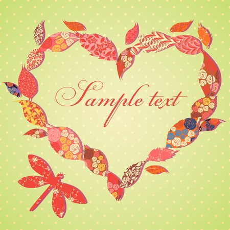 Scrap-booking Valentine card with frame of patch leaves Vector