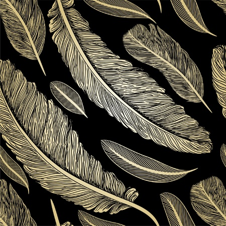 quill pen: Vintage seamless pattern with hand-drawn feathers Illustration