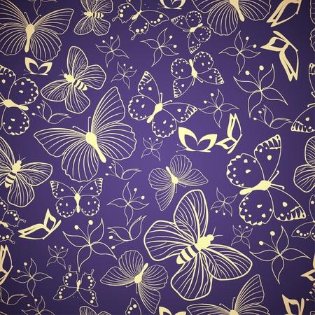 Seamless blue pattern with stylized butterflies