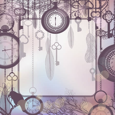 Delicate background with square frame and antique clocks and keys Vector