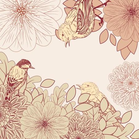 달리아: 새와 꽃 빈티지 배경 일러스트