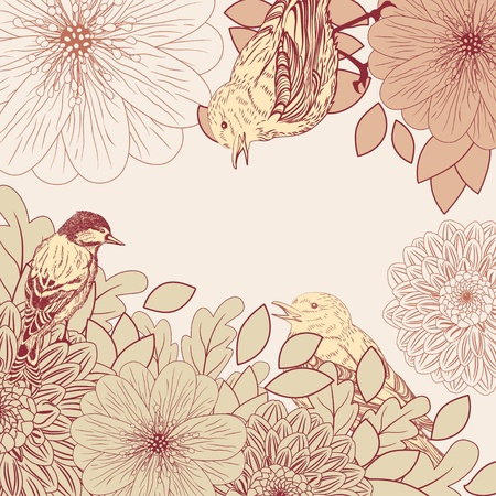 dahlia: Vintage background with birds and flowers Illustration