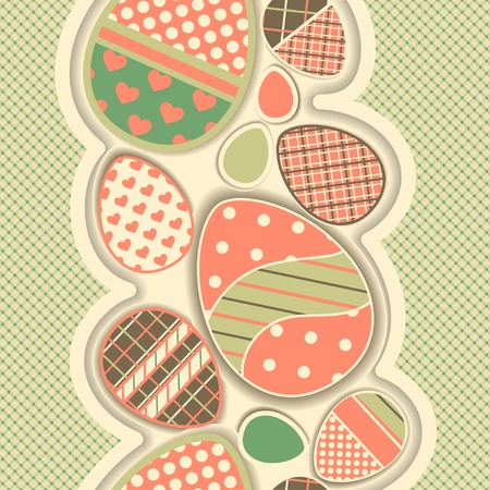 Easter retro seamless border with eggs. All patterns are attached. Vector