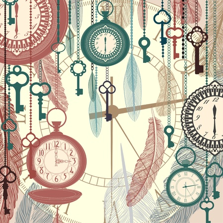 antique key: Vintage vector background with pocket watches and feathers