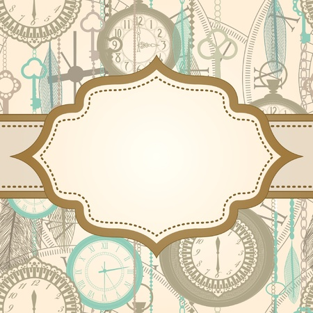 Invitation card with retro frame and clock pattern Illustration