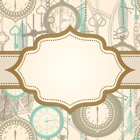 orologi antichi: Invito con telaio retro e pattern di clock