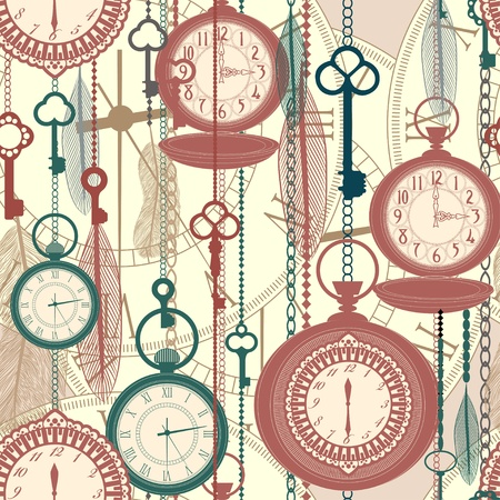 Vintage seamless pattern with watches, feathers and keys Illustration
