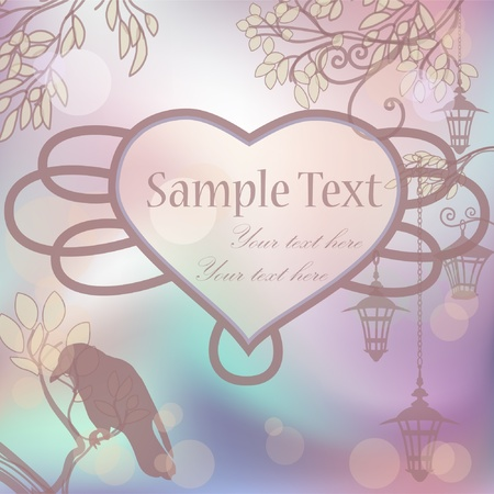 Vector retro background with lanterns and heart frame Vector