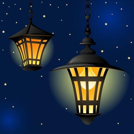 Night with light lanterns and stars. Easy editable background. Vector