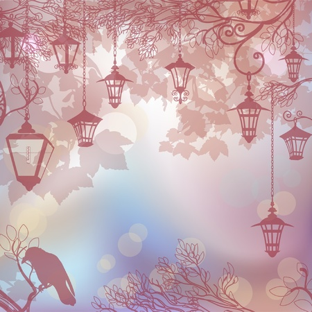 Delicate background background with tree branches and lanterns Vector