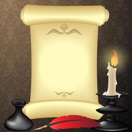 lettre de feu: Fond antique avec rouleau de parchemin, plume et de la bougie