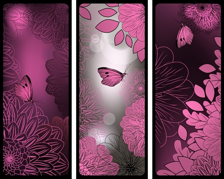 Set of pink and silver vertical banners with flowers and butterflies Stock Vector - 12389470
