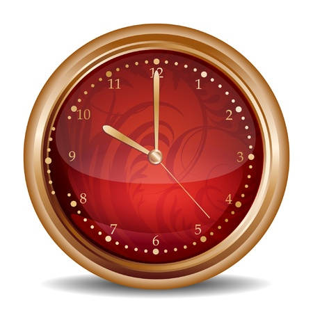 Glossy red clock icon Vector