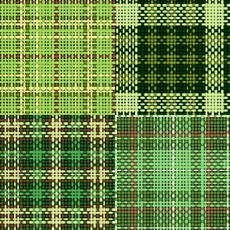 Set of green seamless swatches of rough cotton fabric with plaid for St. Patrick Vector