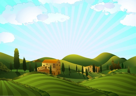 Rural landscape with fields and hills Stock Vector - 12763289