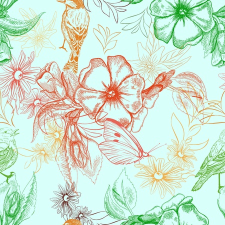 Spring pattern with butterflies and birds on apple flowers Vector