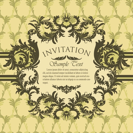 Vintage invitation card with antique floral frame Stock Vector - 13039399