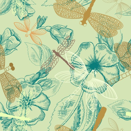 Flower seamless pattern with dragonflies Vector